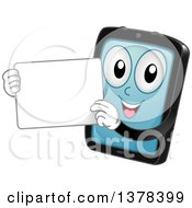 Happy Tablet Computer Mascot Holding A White Board