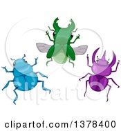 Clipart Of A Group Of Blue Green And Purple Beetles Royalty Free Vector Illustration by BNP Design Studio