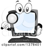 Clipart Of A Desktop Computer Mascot Holding A Magnifying Glass Royalty Free Vector Illustration