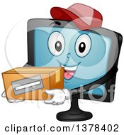 Clipart Of A Happy Monitor Screen Character Holding A Box Royalty Free Vector Illustration