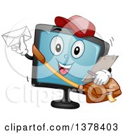 Clipart Of A Happy Monitor Screen Character Mail Man Royalty Free Vector Illustration by BNP Design Studio