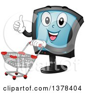 Clipart Of A Happy Monitor Screen Character Pushing A Shopping Cart Royalty Free Vector Illustration by BNP Design Studio
