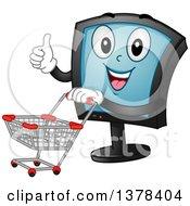 Happy Monitor Screen Character Pushing A Shopping Cart