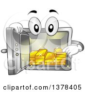 Clipart Of A Vault Mascot Showing Gold Bars On The Inside Royalty Free Vector Illustration