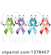 Clipart Of Happy Colorful Awareness Ribbons Royalty Free Vector Illustration by BNP Design Studio