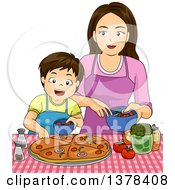 Clipart Of A Brunette Caucasian Boy Making Pizza With His Mom Royalty Free Vector Illustration