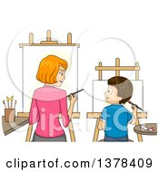 Clipart Of A Red Haired White Mother And Brunette Son Painting Art Side By Side Royalty Free Vector Illustration