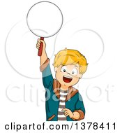Clipart Of A Happy White Boy Holding Up A Paddle To Answer A Question Royalty Free Vector Illustration