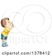 Clipart Of A Brunette White Boy Blowing A Big Bubble Royalty Free Vector Illustration