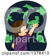 Clipart Of A Happy Brunette White Boy Playing With Glow In The Dark Dinosaur Stickers Royalty Free Vector Illustration by BNP Design Studio