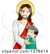 Clipart Of A Happy Boy Hugging Jesus Christ Royalty Free Vector Illustration