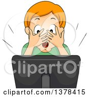 Clipart Of A Red Haired White Boy Covering His Eyes And Streaming A Video Online Royalty Free Vector Illustration by BNP Design Studio