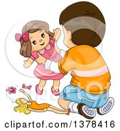 Clipart Of A Brunette White Boy Playing With Toy Dolls Royalty Free Vector Illustration