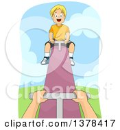 Clipart Of A Happy Blond White Boy Up The High End Of A See Saw Royalty Free Vector Illustration