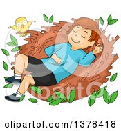Clipart Of A Brunette White Boy Sleeping In A Bird Nest Royalty Free Vector Illustration by BNP Design Studio