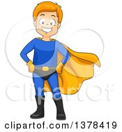 Clipart Of A Red Haired White Super Hero Boy Posing Royalty Free Vector Illustration