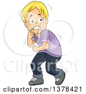 Clipart Of A Scared Blond Boy Cowering Royalty Free Vector Illustration by BNP Design Studio