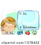 Clipart Of A Happy Brunette White Boy Introducing Himself As A Volunteer Royalty Free Vector Illustration