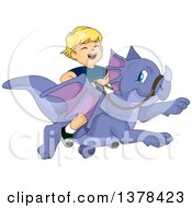 Clipart Of A Blond White Boy Laughing And Riding A Flying Dragon Royalty Free Vector Illustration