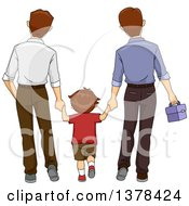 Rear View Of A Brunette White Boy Holding Hands And Walking With His Two Dads