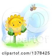 Clipart Of A Happy Sunflower Watching A Bee Flyin In The Shape Of A Heart Royalty Free Vector Illustration