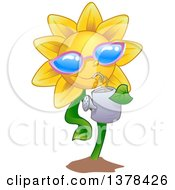 Clipart Of A Happy Sunflower Wearing Shades And Drinking From A Watering Can Royalty Free Vector Illustration by BNP Design Studio