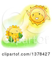 Clipart Of A Happy Sunflower Smiling At The Sun Royalty Free Vector Illustration