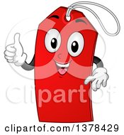 Clipart Of A Red Sale Tag Mascot Giving A Thumb Up Royalty Free Vector Illustration by BNP Design Studio