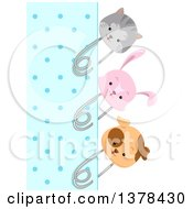 Clipart Of A Blue Polka Dot Paper Bordered With Cat Rabbit And Dog Pins Royalty Free Vector Illustration