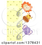 Clipart Of A Yellow Polka Dot Paper Bordered With Lion Giraffe And Elephant Pins Royalty Free Vector Illustration by BNP Design Studio