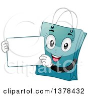 Clipart Of A Blue Female Shopping Bag Mascot Holding A White Board Royalty Free Vector Illustration