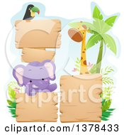 Clipart Of Blank Wood Signs With A Toucan Elephant And Giraffe Royalty Free Vector Illustration