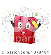 Clipart Of A Pink Female Shopping Bag Mascot Cheering Royalty Free Vector Illustration