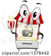Clipart Of A Popcorn Maker Machine Holding A Bucket Royalty Free Vector Illustration