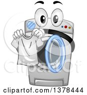 Clipart Of A Washing Machine Holding A Freshly Laundered Shirt Royalty Free Vector Illustration