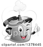 Clipart Of A Happy Pressure Cooker Character Winking And Giving A Thumb Up Royalty Free Vector Illustration