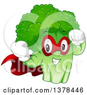 Clipart Of A Cartoon Broccoli Super Hero Character Flexing Royalty Free Vector Illustration