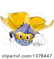 Clipart Of A Cartoon Blueberry Super Hero Flying Royalty Free Vector Illustration