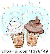 Clipart Of Happy Ice Cream Cones With Sprinkles Royalty Free Vector Illustration by BNP Design Studio