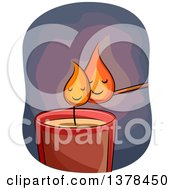 Clipart Of Flames From A Candle And Wick Cuddling Royalty Free Vector Illustration