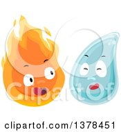 Clipart Of Flame And Water Characters Royalty Free Vector Illustration