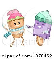 Ice Cream Cone And Popsicle Characters Throwing Snowballs