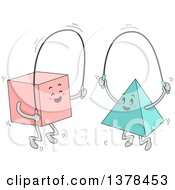 Clipart Of A Square And Pyramid Jumping Rope Together Royalty Free Vector Illustration