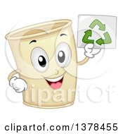 Clipart Of A Happy Paper Cup Mascot Holding Up A Recycle Paper Royalty Free Vector Illustration by BNP Design Studio