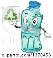 Happy Plastic Water Bottle Mascot Holding Up A Recycle Sign