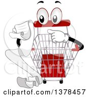 Clipart Of A Shopping Cart Mascot Reading A List Royalty Free Vector Illustration