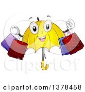 Clipart Of A Happy Umbrella Character Holding Shopping Bags Royalty Free Vector Illustration by BNP Design Studio