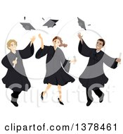 Clipart Of Male And Female College Graduates Tossing Up Their Caps Royalty Free Vector Illustration