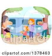 Clipart Of People Dropping Of Used Clothes At A Recycle Center Royalty Free Vector Illustration