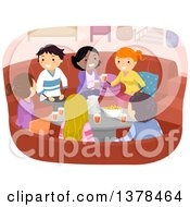 Clipart Of A Group Of Young Adults Talking And Sharing Snacks And Beverages In A Living Room Royalty Free Vector Illustration